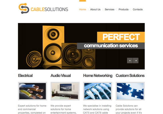Audio Visual company website, brand design and responsive website <br/><a href='http://www.cablesolutions.ie' target='_blank'>Visit website</a>