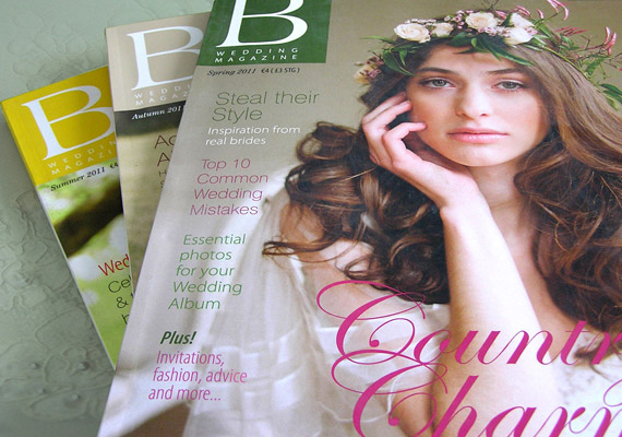 Quarterly publications of B Wedding Magazine, part of the work carried out for Weddings Online (WOL.ie)