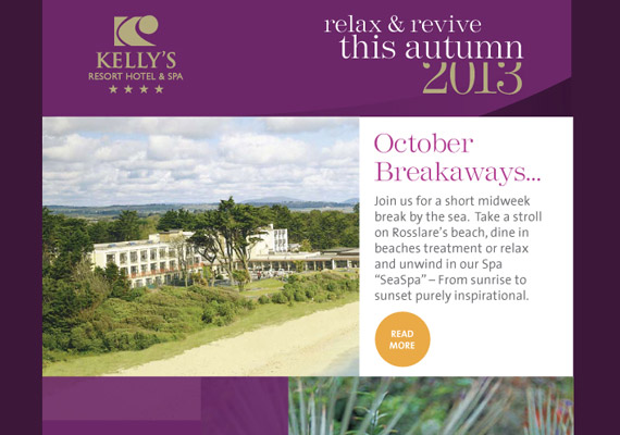 Email newsletter for Kellys Hotels, Rosslare Co. Wexford